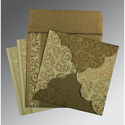 Green Shimmery Floral Themed - Screen Printed Wedding Card : ARU-8235A - IndianWeddingCards