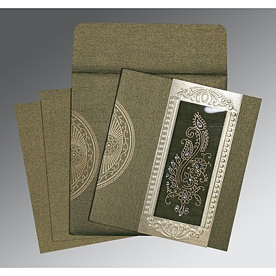 Green Shimmery Paisley Themed - Foil Stamped Wedding Invitation : AC-8230L - IndianWeddingCards