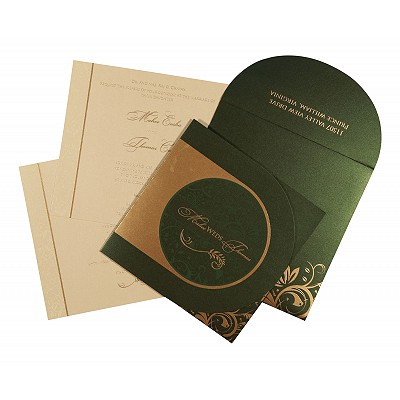 Green Shimmery Paisley Themed - Screen Printed Wedding Card : AS-8264I - IndianWeddingCards