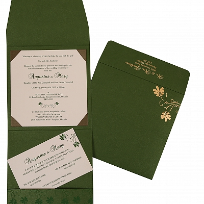 Green Shimmery Screen Printed Wedding Invitation : AIN-803B