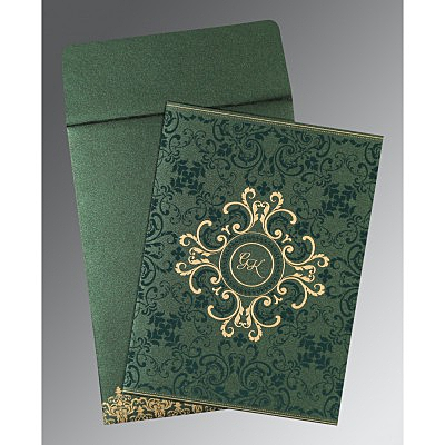 Green Shimmery Screen Printed Wedding Card : ASO-8244I - IndianWeddingCards