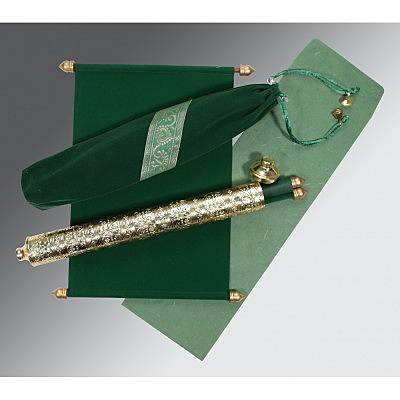 Green Velvet Wedding Card : ASC-5005I - IndianWeddingCards