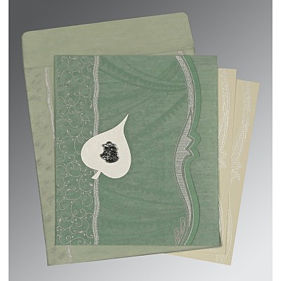 Green Wooly Embossed Wedding Card : AC-8210E - IndianWeddingCards