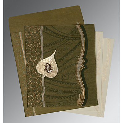 Green Wooly Embossed Wedding Card : AC-8210I - IndianWeddingCards
