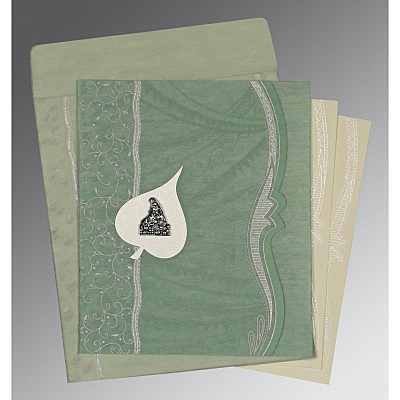 Green Wooly Embossed Wedding Card : AG-8210E - A2zWeddingCards