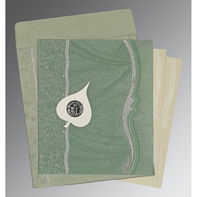 Green Wooly Embossed Wedding Card : ARU-8210E - IndianWeddingCards