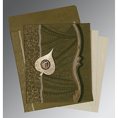 Green Wooly Embossed Wedding Card : ARU-8210I - IndianWeddingCards