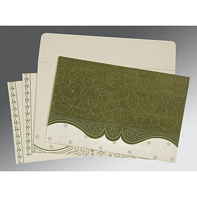 Green Wooly Embossed Wedding Invitation : ARU-8221D - IndianWeddingCards