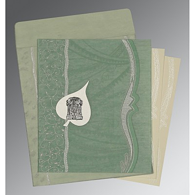 Green Wooly Embossed Wedding Card : ASO-8210E - IndianWeddingCards