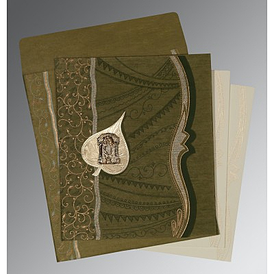 Green Wooly Embossed Wedding Card : ASO-8210I - IndianWeddingCards