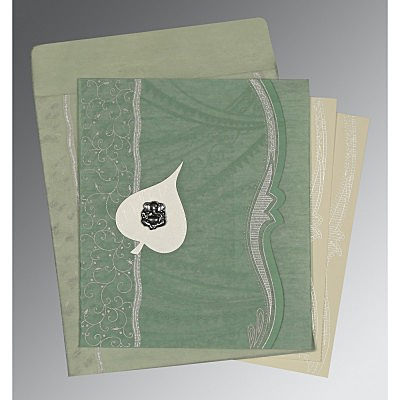 Green Wooly Embossed Wedding Card : AW-8210E - IndianWeddingCards