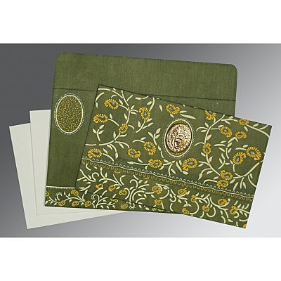 Green Wooly Floral Themed - Glitter Wedding Card : AS-8206D - IndianWeddingCards
