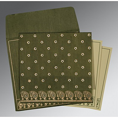 Green Wooly Floral Themed - Screen Printed Wedding Card : AC-8218A - IndianWeddingCards