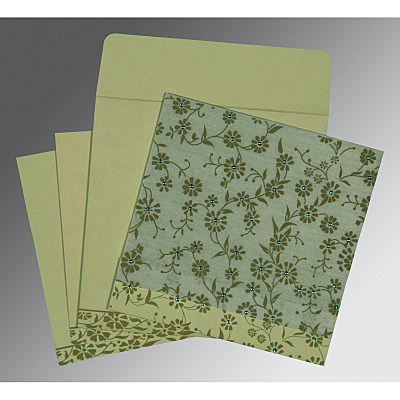 Green Wooly Floral Themed - Screen Printed Wedding Card : AI-8222G - IndianWeddingCards