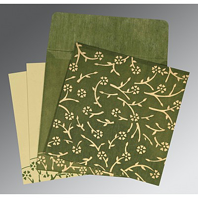 Green Wooly Floral Themed - Screen Printed Wedding Invitations : ARU-8216J - A2zWeddingCards