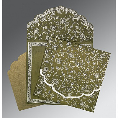 Green Wooly Floral Themed - Screen Printed Wedding Invitation : AS-8211M - IndianWeddingCards