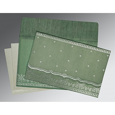 Green Wooly Foil Stamped Wedding Invitation : AC-8241C - IndianWeddingCards