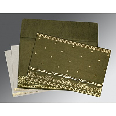 Green Wooly Foil Stamped Wedding Invitation : ARU-8241L - IndianWeddingCards