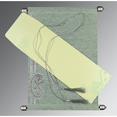 Green Wooly Foil Stamped Wedding Card : ASC-5015H - IndianWeddingCards