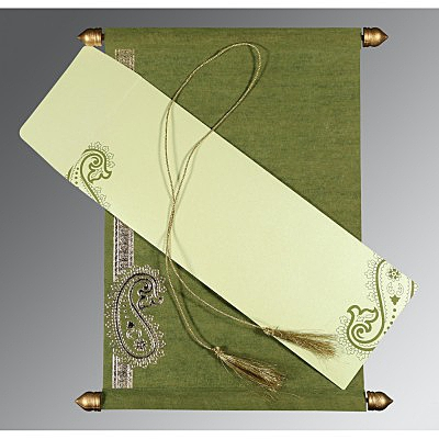 Green Wooly Foil Stamped Wedding Card : ASC-5015I - IndianWeddingCards
