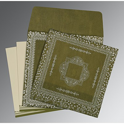 Green Wooly Glitter Wedding Card : AD-8205Q - IndianWeddingCards