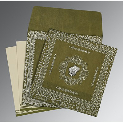 Green Wooly Glitter Wedding Card : AI-8205Q - IndianWeddingCards