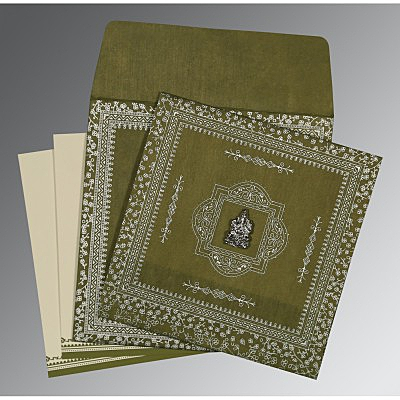 Green Wooly Glitter Wedding Card : AIN-8205Q - IndianWeddingCards