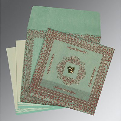 Green Wooly Glitter Wedding Card : ARU-8205N - IndianWeddingCards