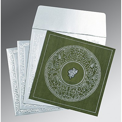 Green Wooly Screen Printed Wedding Card : AC-8214L - IndianWeddingCards