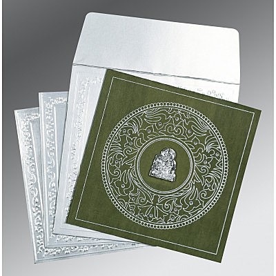Green Wooly Screen Printed Wedding Card : AG-8214L - IndianWeddingCards