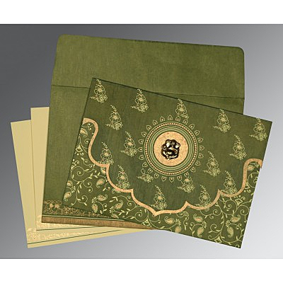 Green Wooly Screen Printed Wedding Invitation : AIN-8207H - IndianWeddingCards