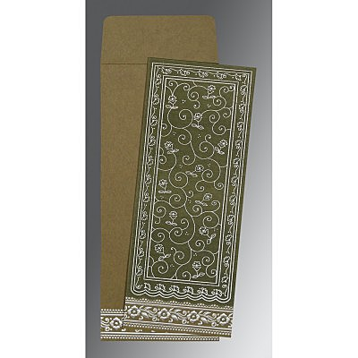 Green Wooly Screen Printed Wedding Invitations : AIN-8220Q - A2zWeddingCards