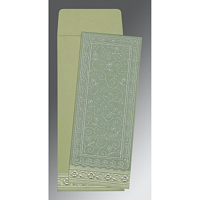 Green Wooly Screen Printed Wedding Invitation : ARU-8220G - IndianWeddingCards