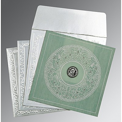 Green Wooly Screen Printed Wedding Card : AS-8214P - IndianWeddingCards
