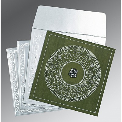 Green Wooly Screen Printed Wedding Card : AW-8214L - IndianWeddingCards
