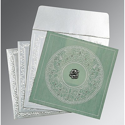 Green Wooly Screen Printed Wedding Card : AW-8214P - IndianWeddingCards