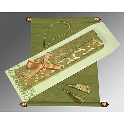 Green Wooly Wedding Invitations : ASC-5014A - A2zWeddingCards