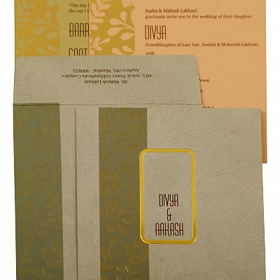 Grey Matte Floral Themed - Foil Stamped Wedding Invitation : AIN-1883