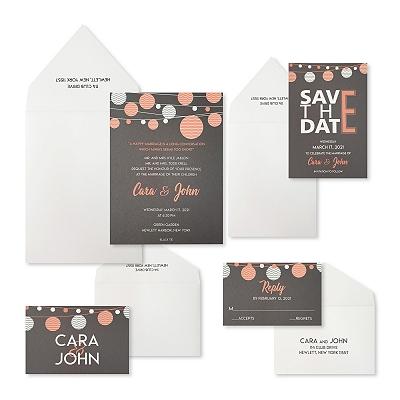 Grey Matte Screen Printed Wedding Invitation : ATWINKLING_NIGHTS