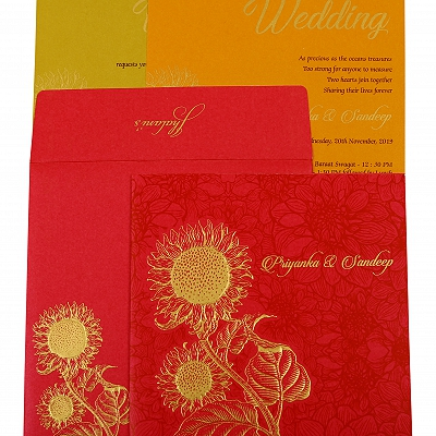 Hot Pink Shimmery Floral Themed - Embossed Wedding Invitation : AIN-1898
