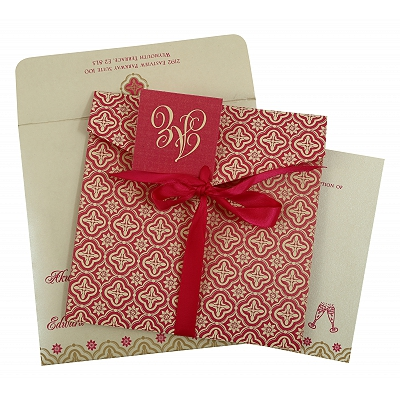 Hot Pink Shimmery Screen Printed Wedding Invitation : AD-805A