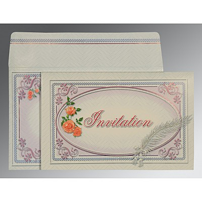 Ivory Embossed Wedding Card : AIN-1327