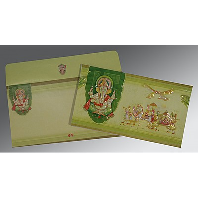 Ivory Embossed Wedding Card : AIN-2226