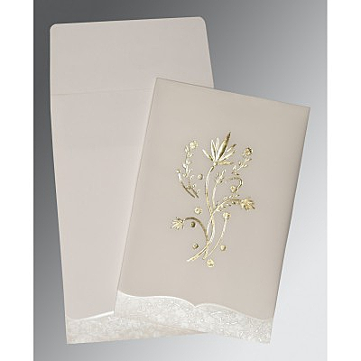 Ivory Floral Themed - Foil Stamped Wedding Invitations : AC-1495 - A2zWeddingCards