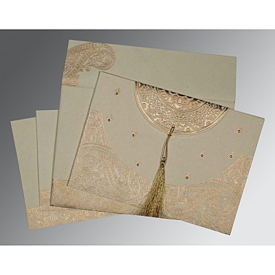 Ivory Handmade Cotton Embossed Wedding Card : AIN-8234B - IndianWeddingCards