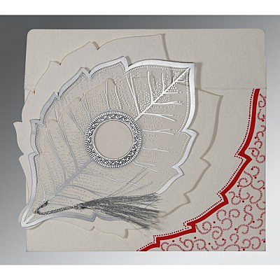 Ivory Handmade Cotton Floral Themed - Foil Stamped Wedding Card : AG-8219L - IndianWeddingCards