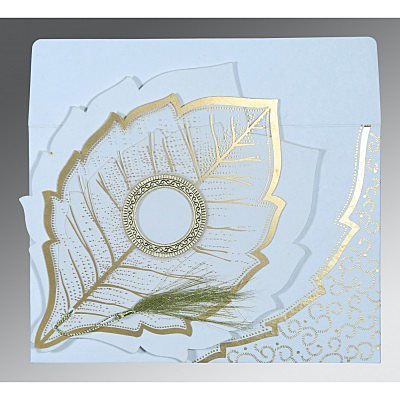 Ivory Handmade Cotton Floral Themed - Foil Stamped Wedding Card : AS-8219H - IndianWeddingCards