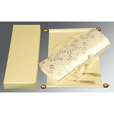 Ivory Handmade Shimmer Wedding Invitation : ASC-5007J - IndianWeddingCards