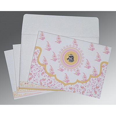 Ivory Handmade Silk Screen Printed Wedding Invitations : AC-8207I - A2zWeddingCards