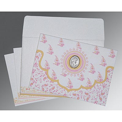 Ivory Handmade Silk Screen Printed Wedding Invitations : AI-8207I - A2zWeddingCards